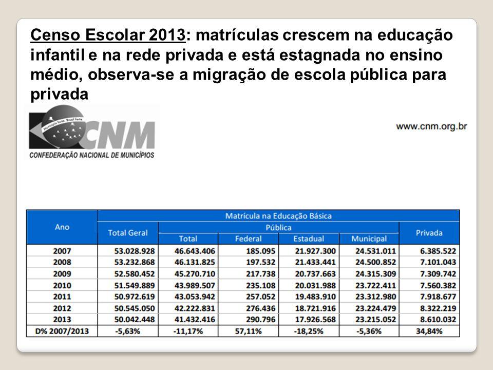 Censo Escolar 2013: matrículas crescem na educação infantil e na rede privada e está estagnada no ensino médio, observa-se a migração de escola pública para privada