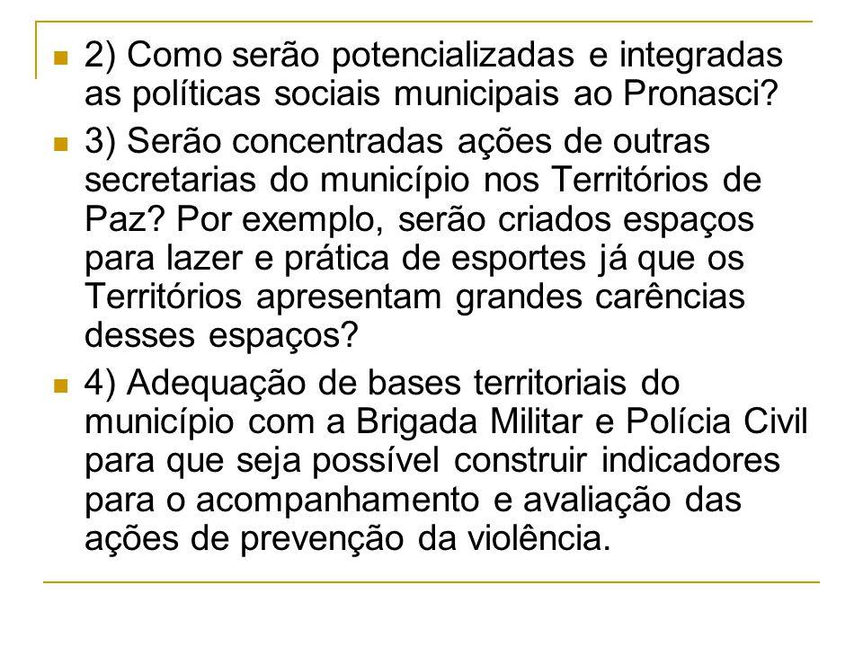 2) Como serão potencializadas e integradas as políticas sociais municipais ao Pronasci.