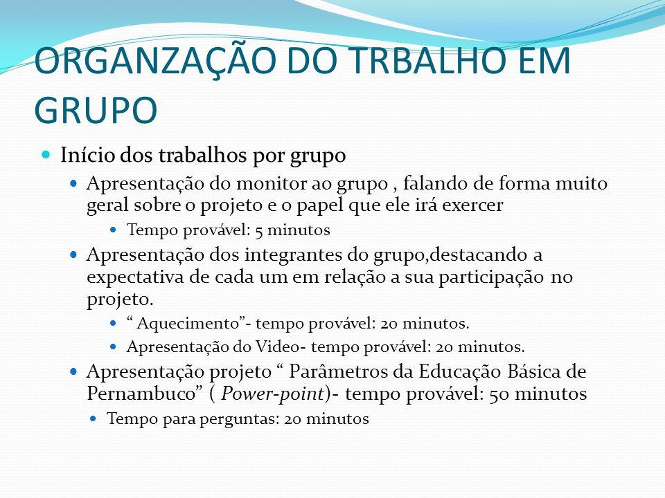 ORGANZAÇÃO DO TRBALHO EM GRUPO Início dos trabalhos por grupo Apresentação do monitor ao grupo, falando de forma muito geral sobre o projeto e o papel