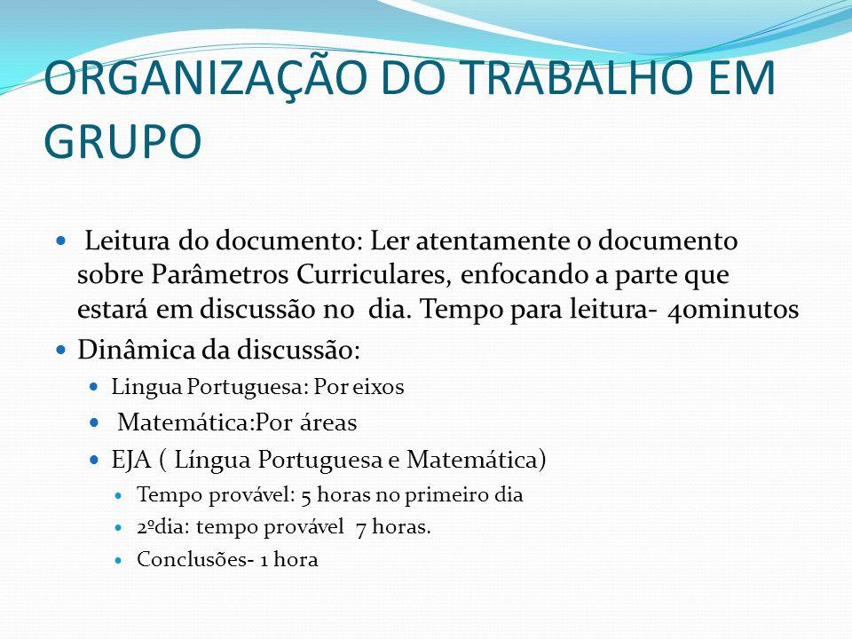 ORGANIZAÇÃO DO TRABALHO EM GRUPO Leitura do documento: Ler atentamente o documento sobre Parâmetros Curriculares, enfocando a parte que estará em disc