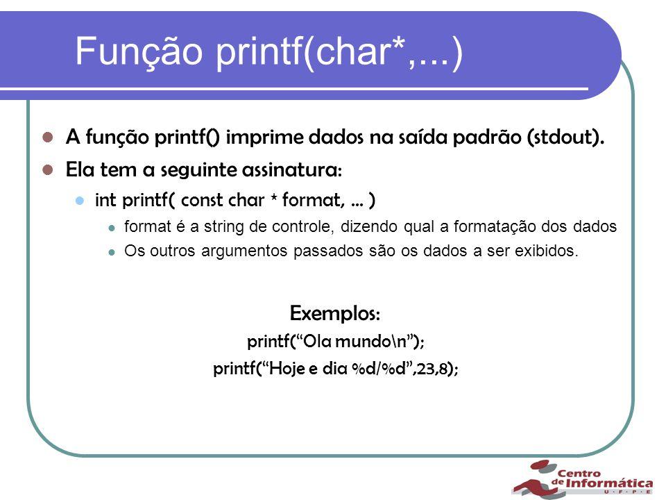 Função printf(char*,...) A função printf() imprime dados na saída padrão (stdout).