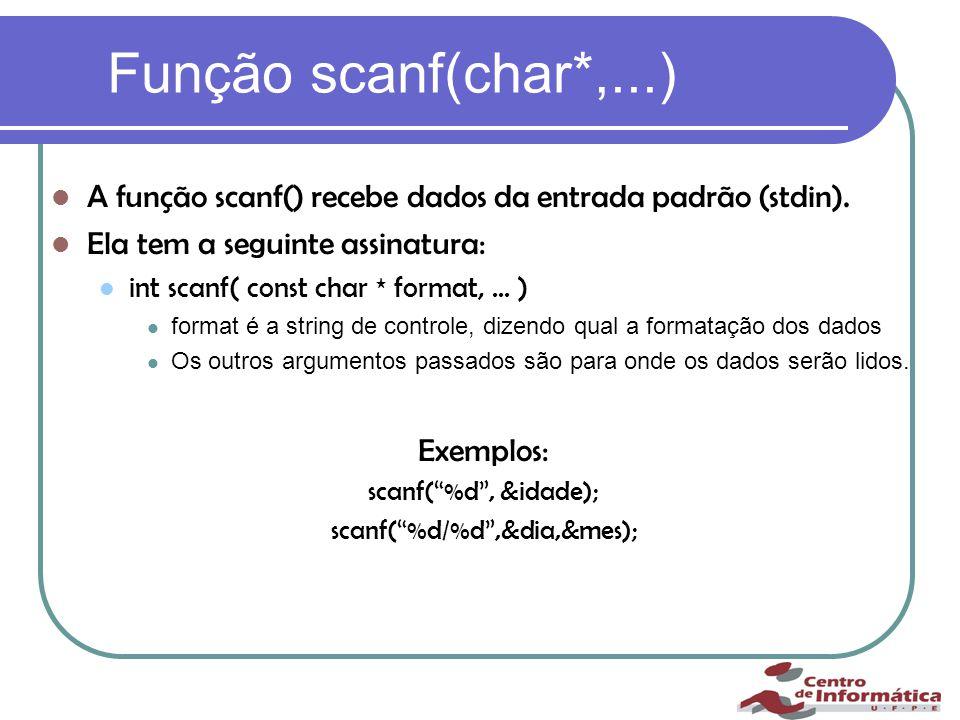 Função scanf(char*,...) A função scanf() recebe dados da entrada padrão (stdin).
