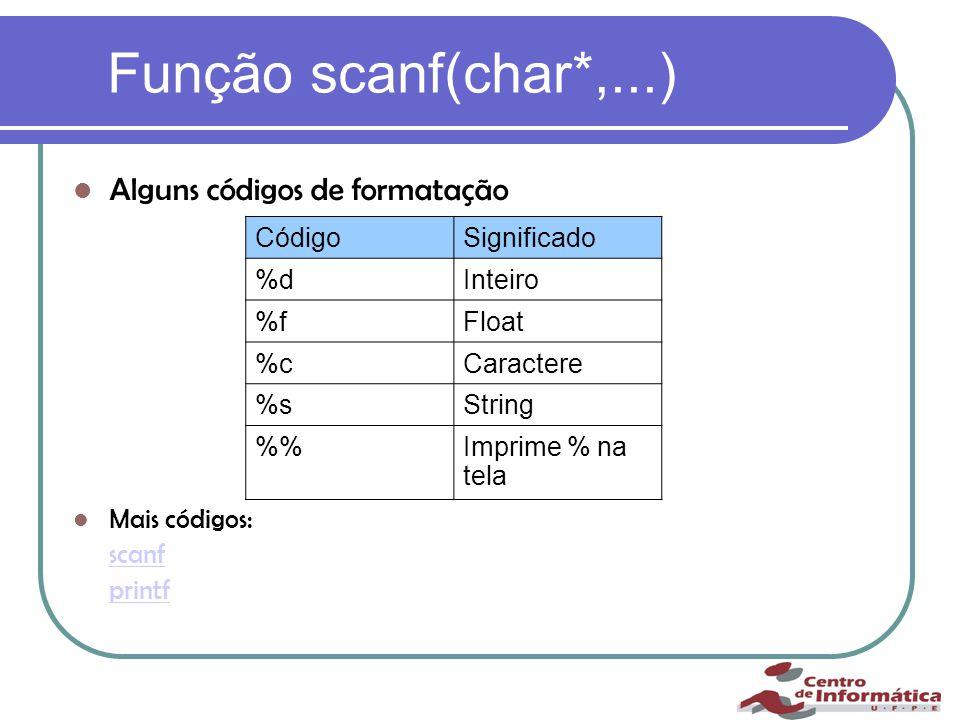 Função scanf(char*,...) Alguns códigos de formatação Mais códigos: scanf printf CódigoSignificado %dInteiro %fFloat %cCaractere %sString %Imprime % na tela