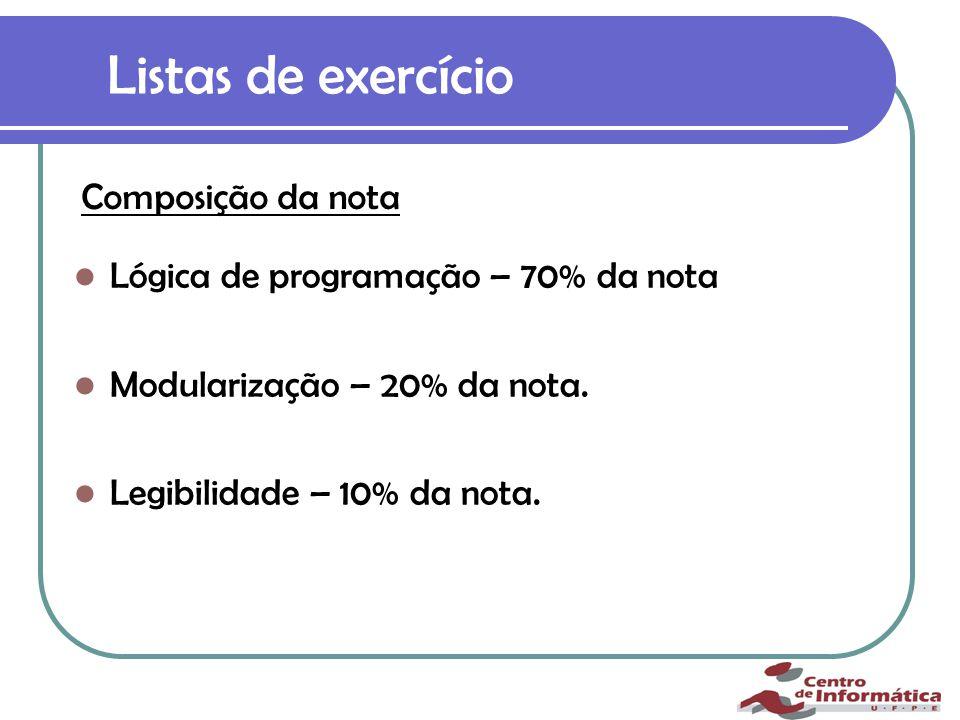 Listas de exercício Lógica de programação – 70% da nota Modularização – 20% da nota.