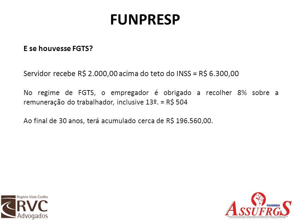 FUNPRESP E se houvesse FGTS? Servidor recebe R$ 2.000,00 acima do teto do INSS = R$ 6.300,00 No regime de FGTS, o empregador é obrigado a recolher 8%