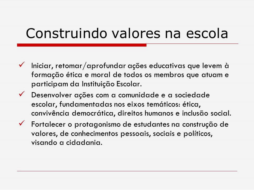 Iniciar, retomar/aprofundar ações educativas que levem à formação ética e moral de todos os membros que atuam e participam da Instituição Escolar. Des