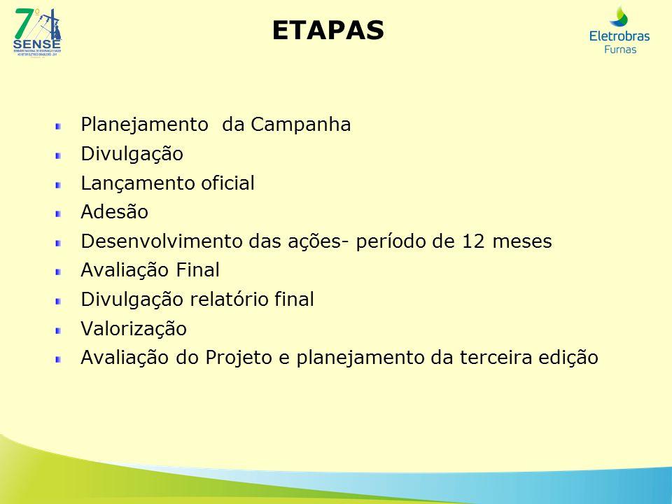 ETAPAS Planejamento da Campanha Divulgação Lançamento oficial Adesão Desenvolvimento das ações- período de 12 meses Avaliação Final Divulgação relatório final Valorização Avaliação do Projeto e planejamento da terceira edição