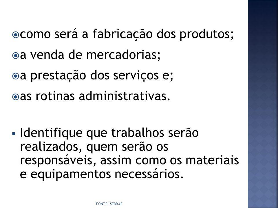  como será a fabricação dos produtos;  a venda de mercadorias;  a prestação dos serviços e;  as rotinas administrativas.  Identifique que trabalh