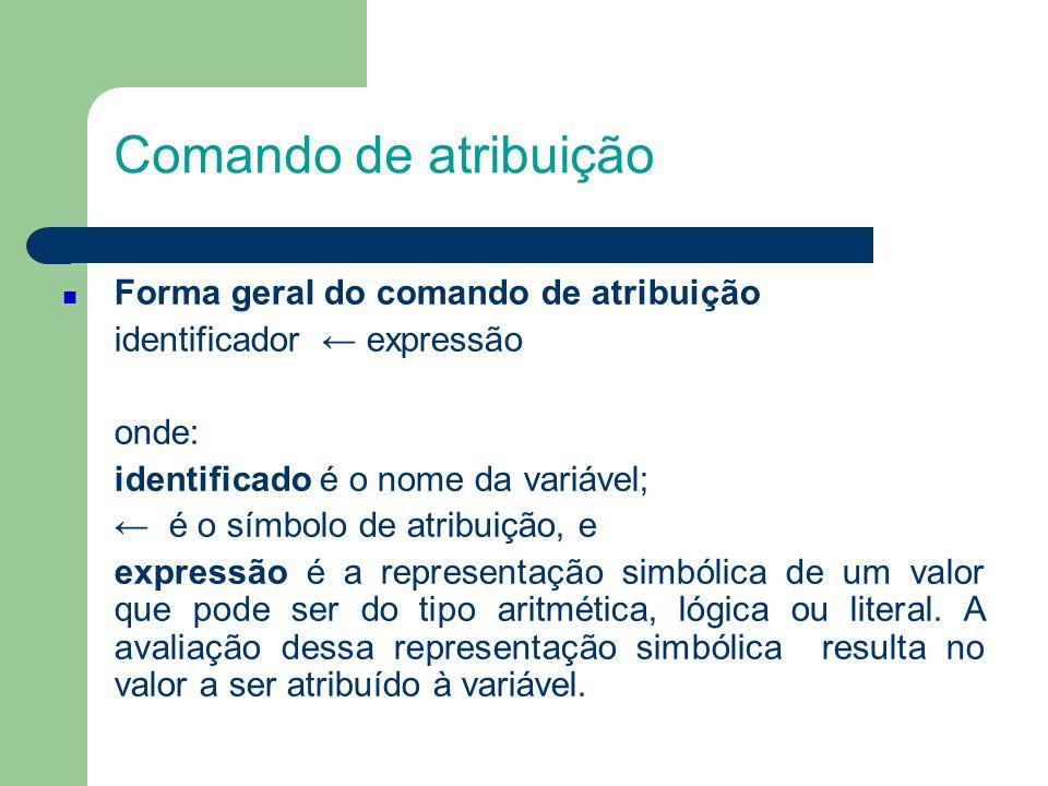Comando de atribuição Exemplo de atribuição: k ← 10 COR ← VERDE teste ← falso soma ← 50 media ← soma/k cod ← (n*n+1) > 5 sim ← k = 0 e media < 0