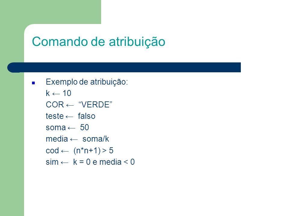 Comando de atribuição Exercícios de fixação 1.7.1.1.