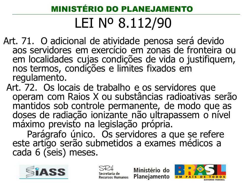MINISTÉRIO DO PLANEJAMENTO Art. 71. O adicional de atividade penosa será devido aos servidores em exercício em zonas de fronteira ou em localidades cu