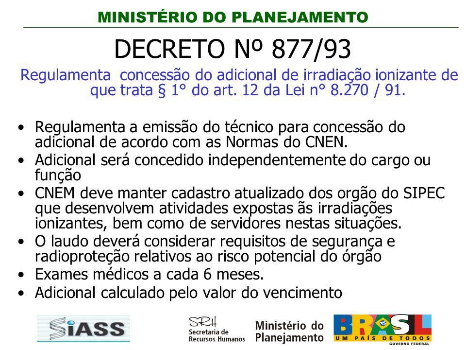 MINISTÉRIO DO PLANEJAMENTO DECRETO Nº 877/93 Regulamenta concessão do adicional de irradiação ionizante de que trata § 1° do art. 12 da Lei n° 8.270 /