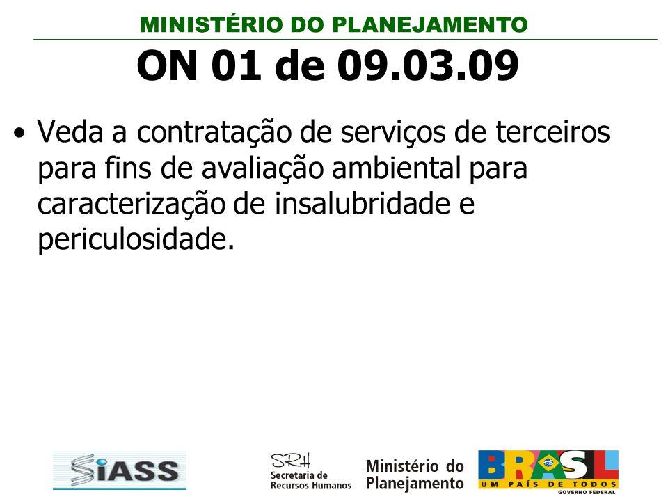 MINISTÉRIO DO PLANEJAMENTO ON 01 de 09.03.09 Veda a contratação de serviços de terceiros para fins de avaliação ambiental para caracterização de insal