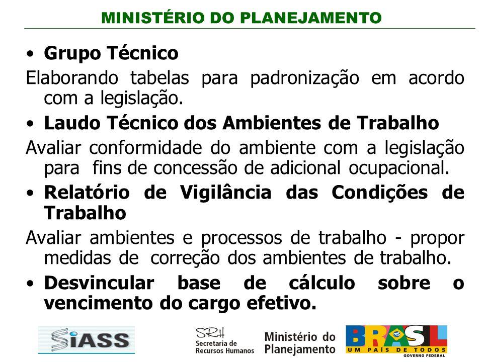 MINISTÉRIO DO PLANEJAMENTO Grupo Técnico Elaborando tabelas para padronização em acordo com a legislação. Laudo Técnico dos Ambientes de Trabalho Aval