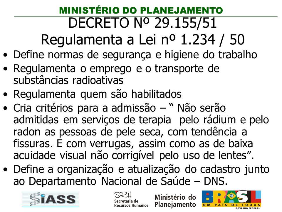 MINISTÉRIO DO PLANEJAMENTO DECRETO Nº 29.155/51 Regulamenta a Lei nº 1.234 / 50 Define normas de segurança e higiene do trabalho Regulamenta o emprego
