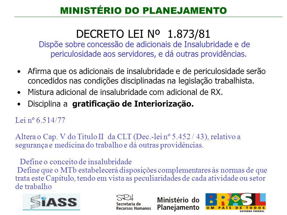 MINISTÉRIO DO PLANEJAMENTO DECRETO LEI Nº 1.873/81 Dispõe sobre concessão de adicionais de Insalubridade e de periculosidade aos servidores, e dá outr