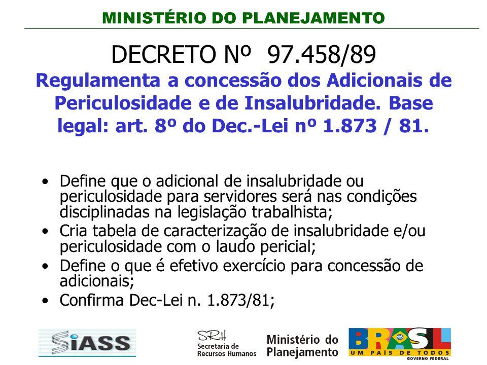 MINISTÉRIO DO PLANEJAMENTO DECRETO Nº 97.458/89 Regulamenta a concessão dos Adicionais de Periculosidade e de Insalubridade. Base legal: art. 8º do De