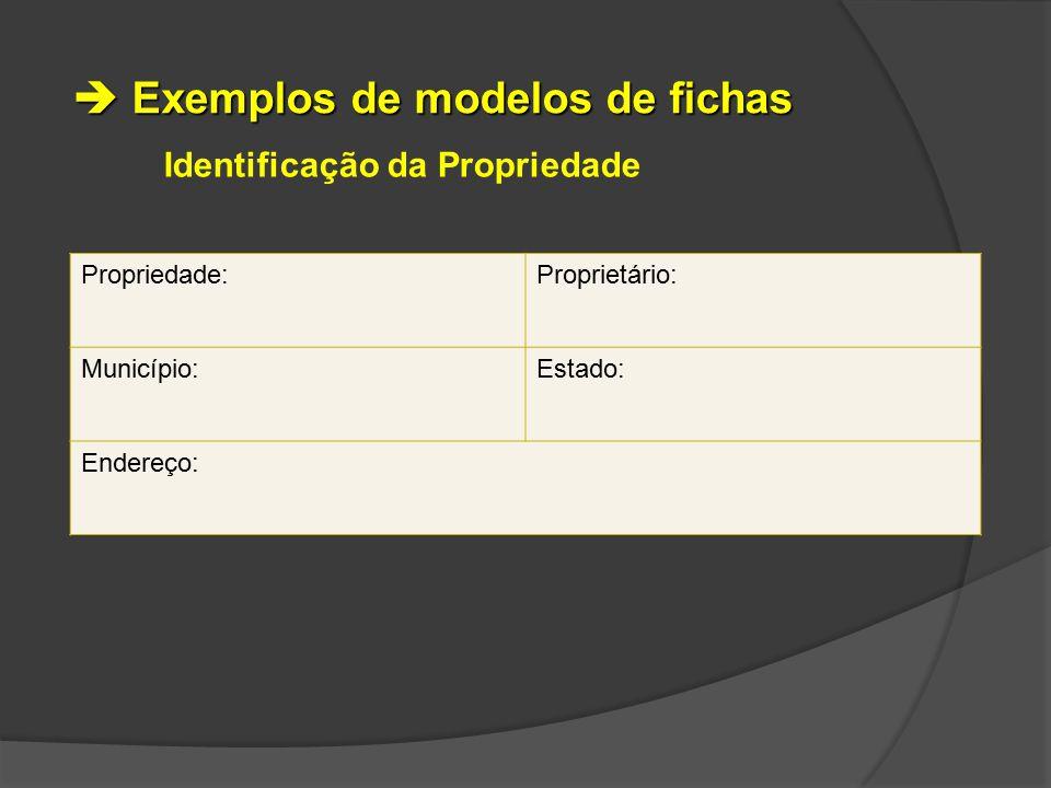 Identificação da Propriedade Propriedade:Proprietário: Município:Estado: Endereço:  Exemplos de modelos de fichas