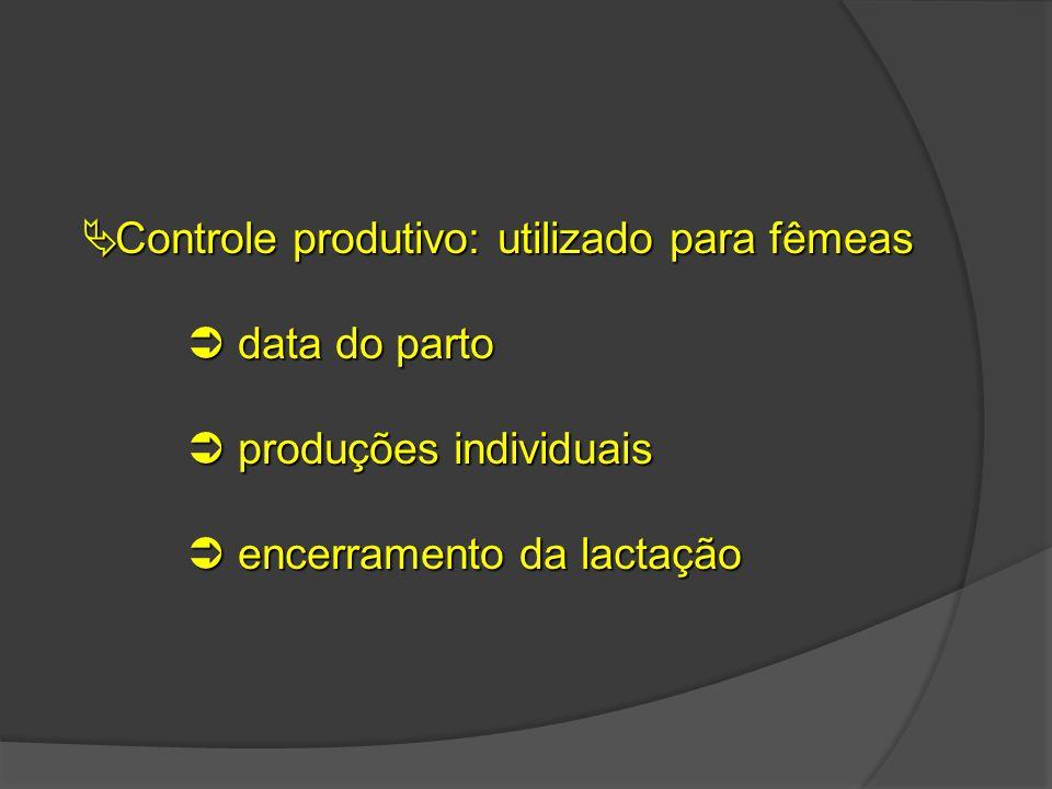  Controle produtivo: utilizado para fêmeas  data do parto  produções individuais  encerramento da lactação