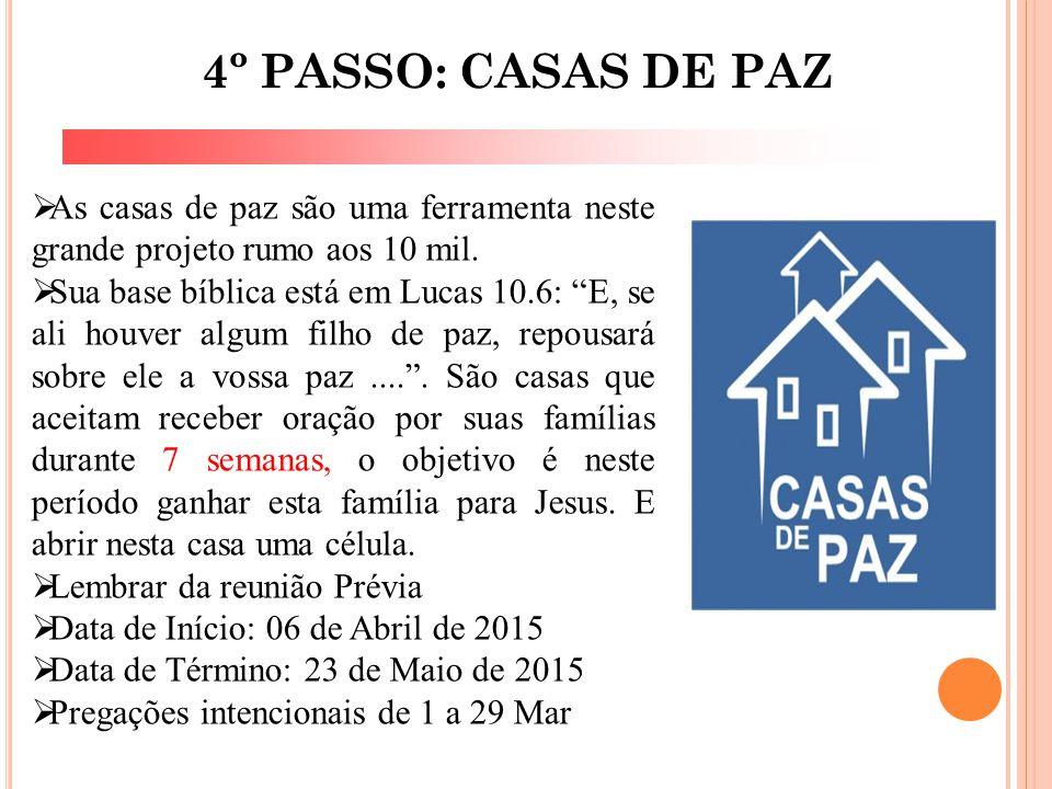 """4º PASSO: CASAS DE PAZ  As casas de paz são uma ferramenta neste grande projeto rumo aos 10 mil.  Sua base bíblica está em Lucas 10.6: """"E, se ali ho"""