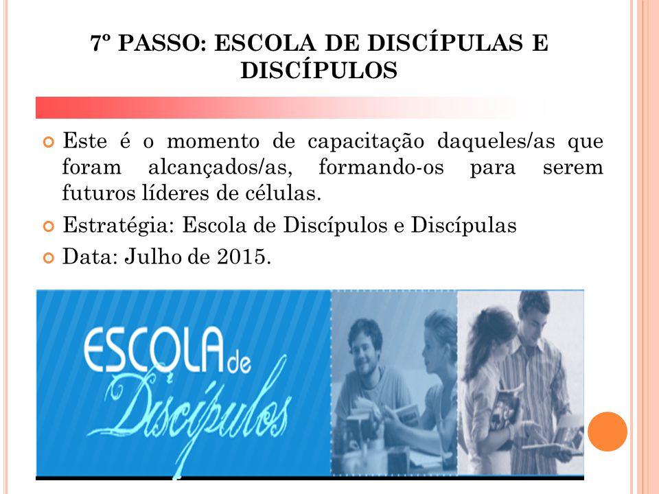 7º PASSO: ESCOLA DE DISCÍPULAS E DISCÍPULOS Este é o momento de capacitação daqueles/as que foram alcançados/as, formando-os para serem futuros lídere