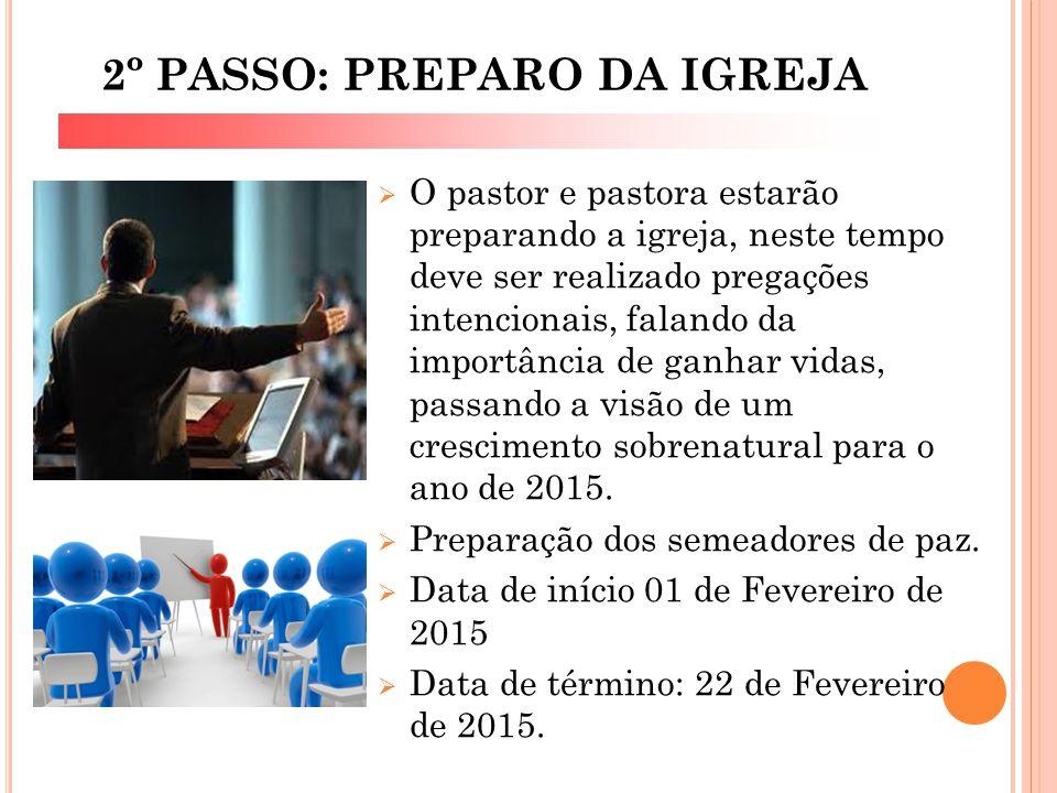 2º PASSO: PREPARO DA IGREJA  O pastor e pastora estarão preparando a igreja, neste tempo deve ser realizado pregações intencionais, falando da import