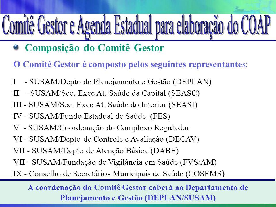 Composição do Comitê Gestor O Comitê Gestor é composto pelos seguintes representantes: I - SUSAM/Depto de Planejamento e Gestão (DEPLAN) II - SUSAM/Se