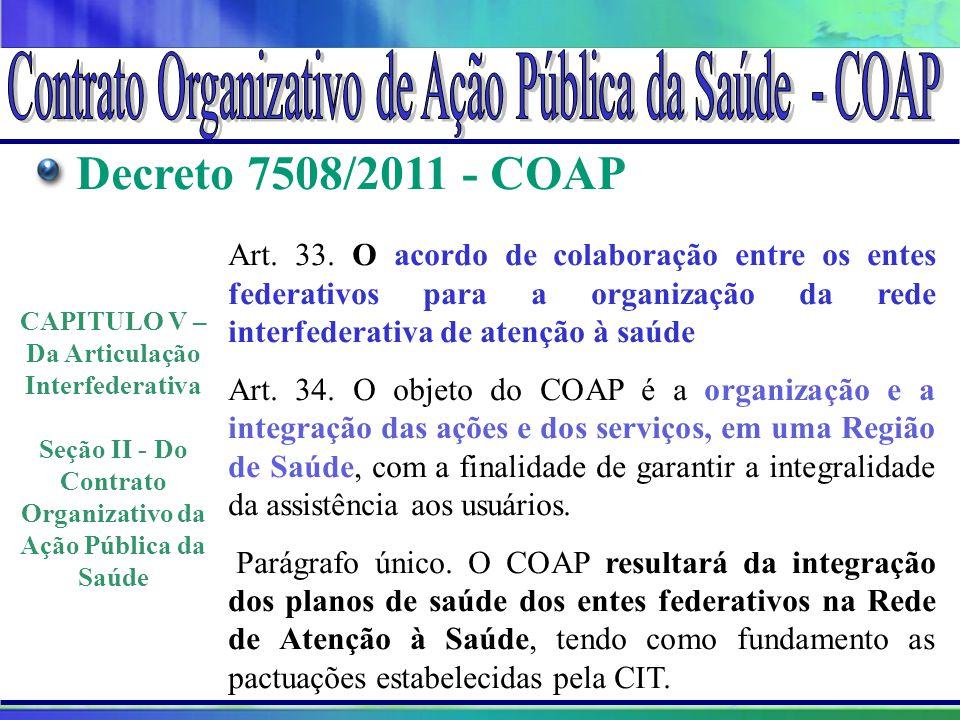 Projeto Amigo do Lago da Serra da Mesa Decreto 7508/2011 - COAP Art. 33. O acordo de colaboração entre os entes federativos para a organização da rede