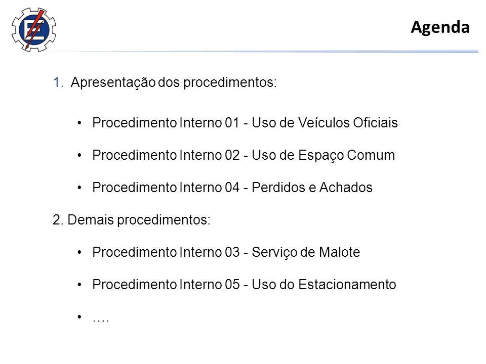 Agenda 1.Apresentação dos procedimentos: Procedimento Interno 01 - Uso de Veículos Oficiais Procedimento Interno 02 - Uso de Espaço Comum Procedimento Interno 04 - Perdidos e Achados 2.