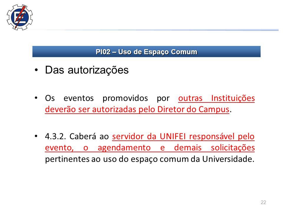 22 Das autorizações Os eventos promovidos por outras Instituições deverão ser autorizadas pelo Diretor do Campus.