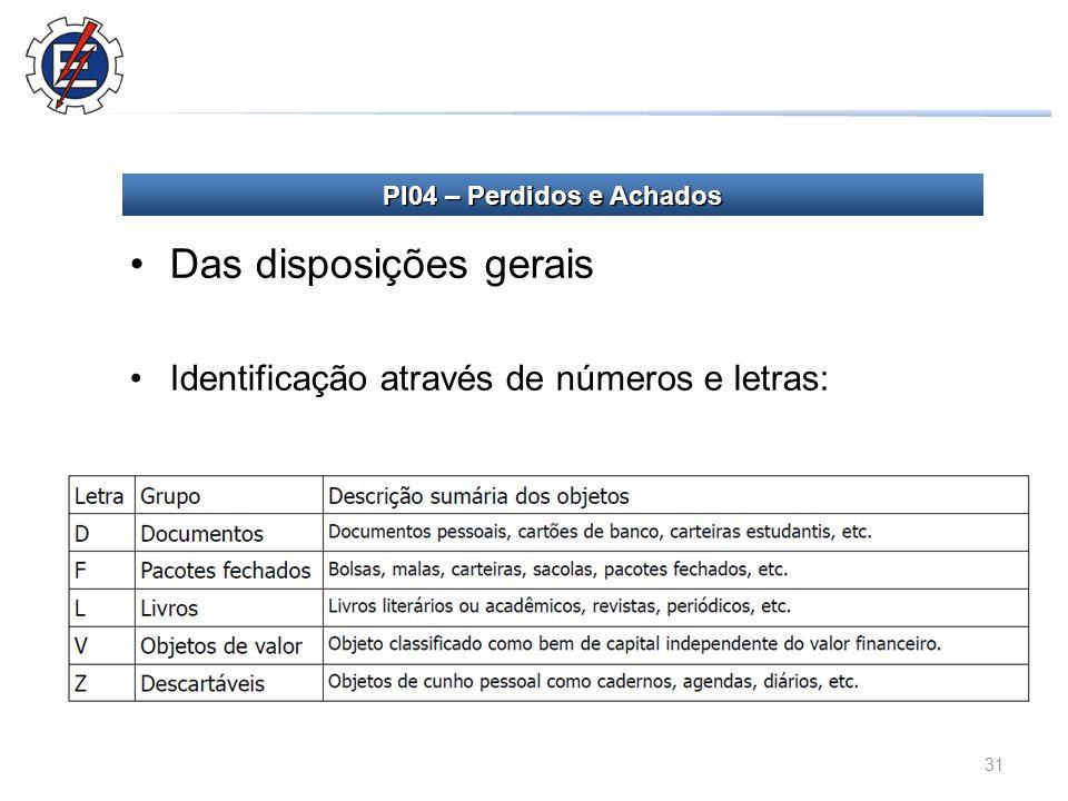 31 Das disposições gerais Identificação através de números e letras: PI04 – Perdidos e Achados