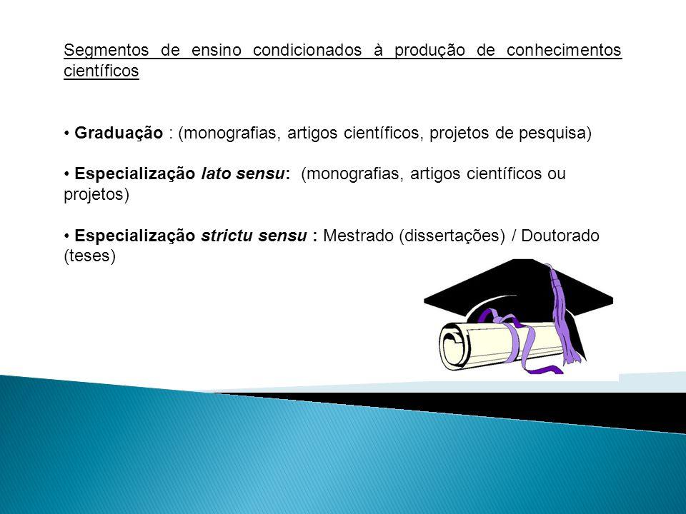 Monografia é o produto final de uma pesquisa científica em nível de Graduação e Pós graduação lato sensu.