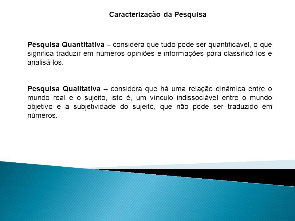 Caracterização da Pesquisa Pesquisa Quantitativa – considera que tudo pode ser quantificável, o que significa traduzir em números opiniões e informações para classificá-los e analisá-los.
