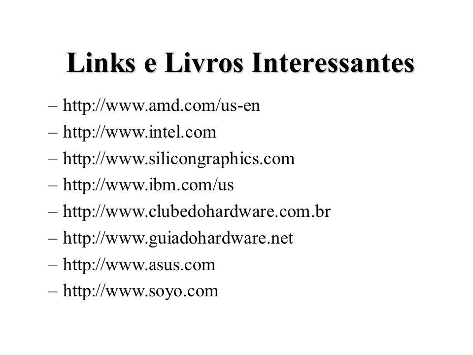 Links e Livros Interessantes Links e Livros Interessantes –http://www.amd.com/us-en –http://www.intel.com –http://www.silicongraphics.com –http://www.ibm.com/us –http://www.clubedohardware.com.br –http://www.guiadohardware.net –http://www.asus.com –http://www.soyo.com