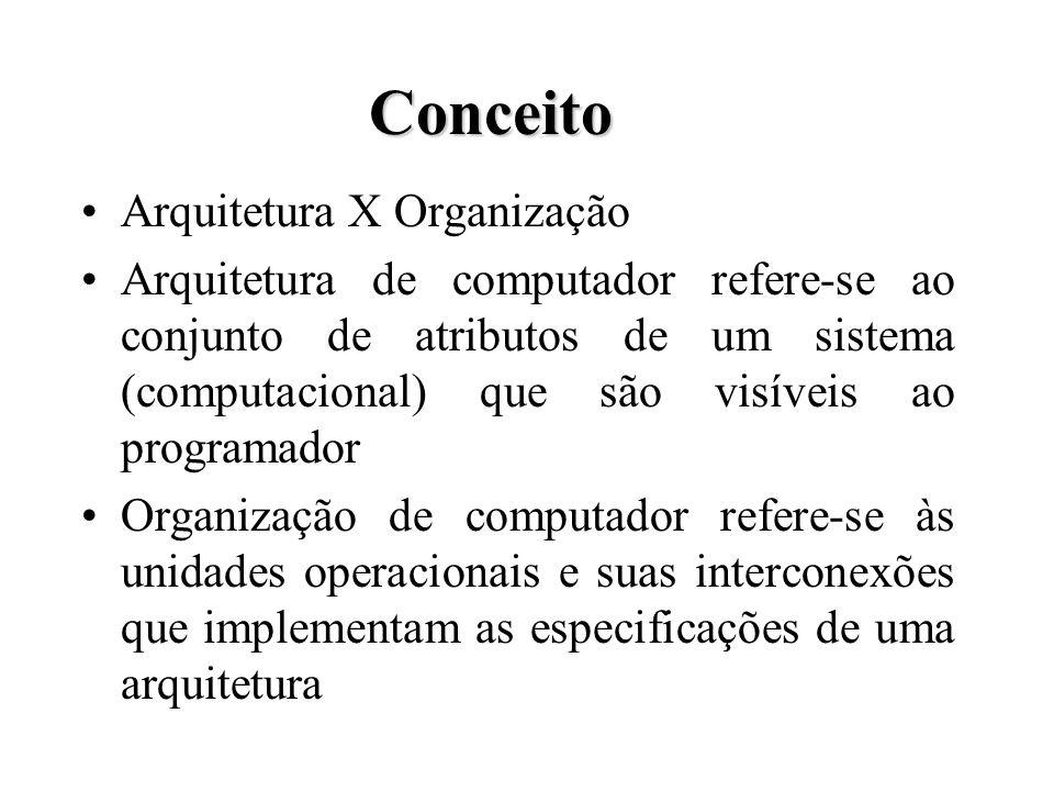 Conceito Arquitetura X Organização Arquitetura de computador refere-se ao conjunto de atributos de um sistema (computacional) que são visíveis ao programador Organização de computador refere-se às unidades operacionais e suas interconexões que implementam as especificações de uma arquitetura
