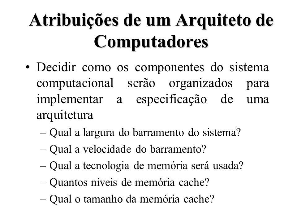 Atribuições de um Arquiteto de Computadores Decidir como os componentes do sistema computacional serão organizados para implementar a especificação de uma arquitetura –Qual a largura do barramento do sistema.