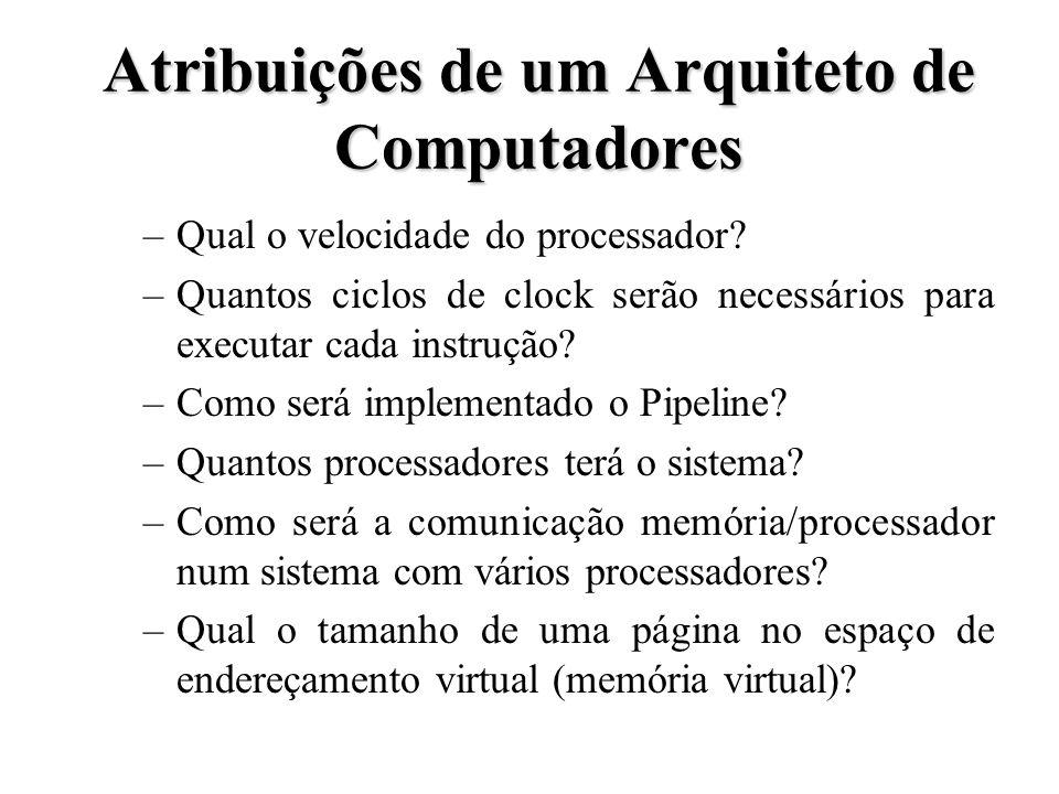Atribuições de um Arquiteto de Computadores –Qual o velocidade do processador? –Quantos ciclos de clock serão necessários para executar cada instrução
