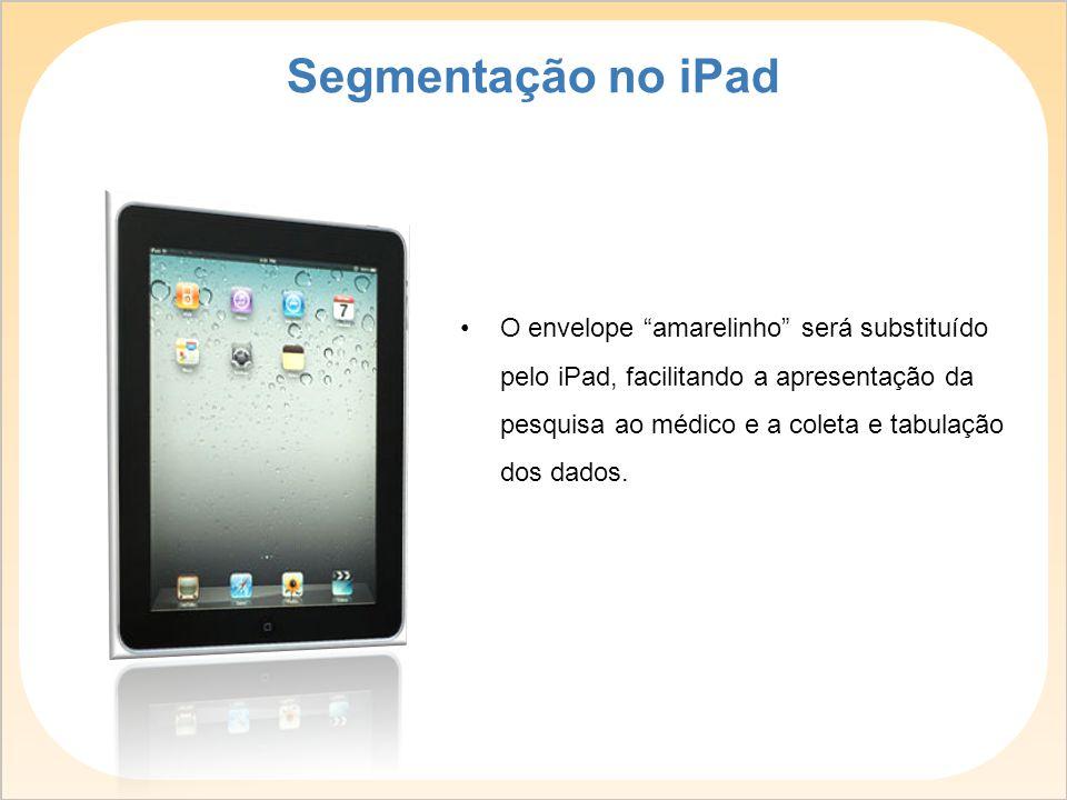 """O envelope """"amarelinho"""" será substituído pelo iPad, facilitando a apresentação da pesquisa ao médico e a coleta e tabulação dos dados. Segmentação no"""