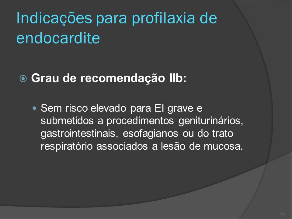 Indicações para profilaxia de endocardite  Grau de recomendação IIb: Sem risco elevado para EI grave e submetidos a procedimentos geniturinários, gas