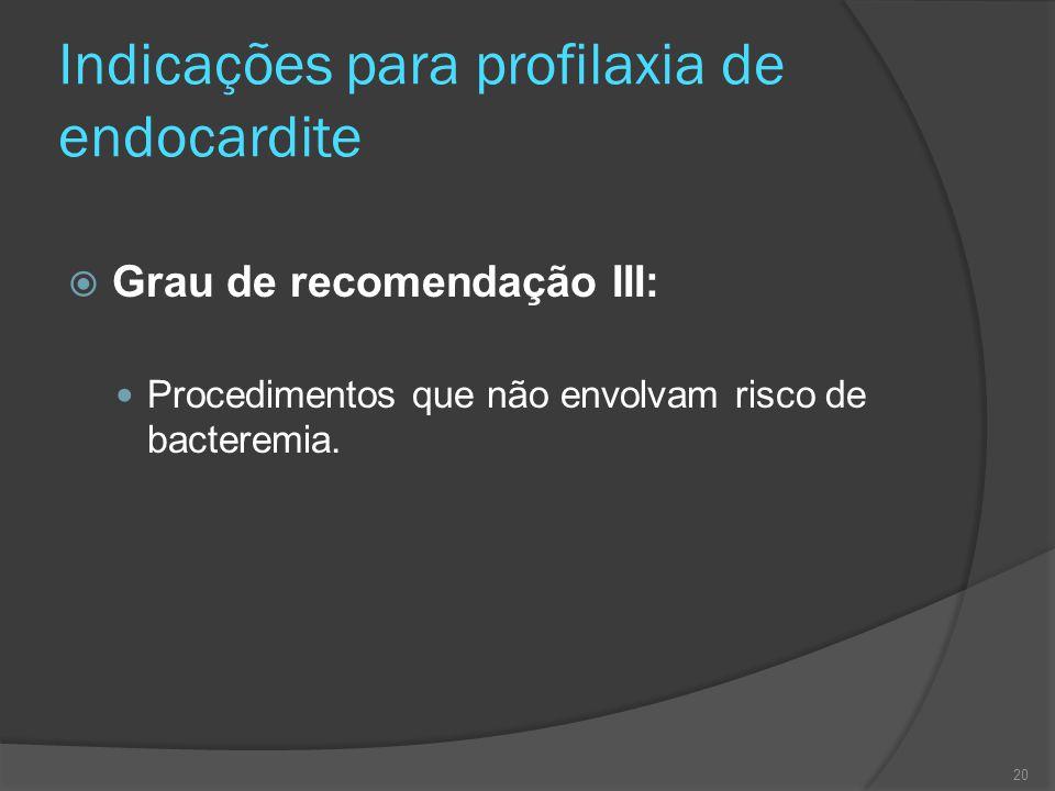 Indicações para profilaxia de endocardite  Grau de recomendação III: Procedimentos que não envolvam risco de bacteremia. 20