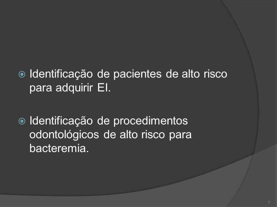 Indicações para profilaxia de endocardite  Grau de recomendação IIb: Sem risco elevado para EI grave e submetidos a procedimentos geniturinários, gastrointestinais, esofagianos ou do trato respiratório associados a lesão de mucosa.