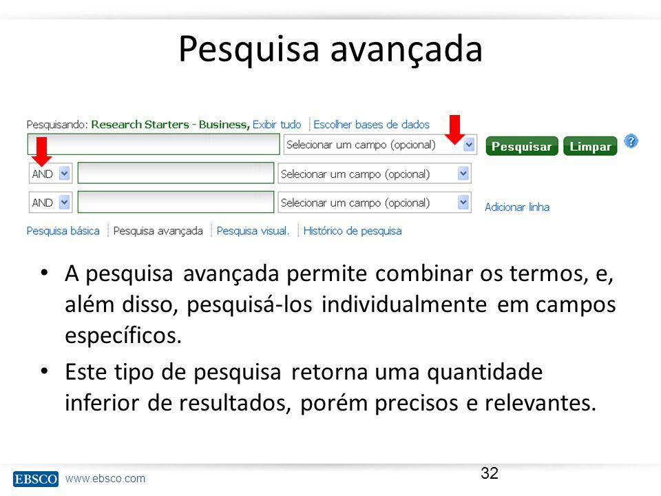 www.ebsco.com Pesquisa avançada A pesquisa avançada permite combinar os termos, e, além disso, pesquisá-los individualmente em campos específicos.