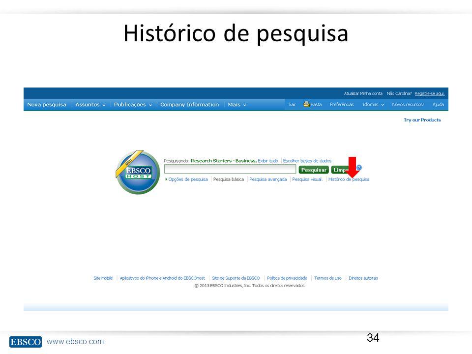 www.ebsco.com Histórico de pesquisa 34