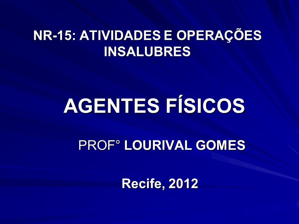NR-15: ATIVIDADES E OPERAÇÕES INSALUBRES PROF° LOURIVAL GOMES PROF° LOURIVAL GOMES Recife, 2012 AGENTES FÍSICOS