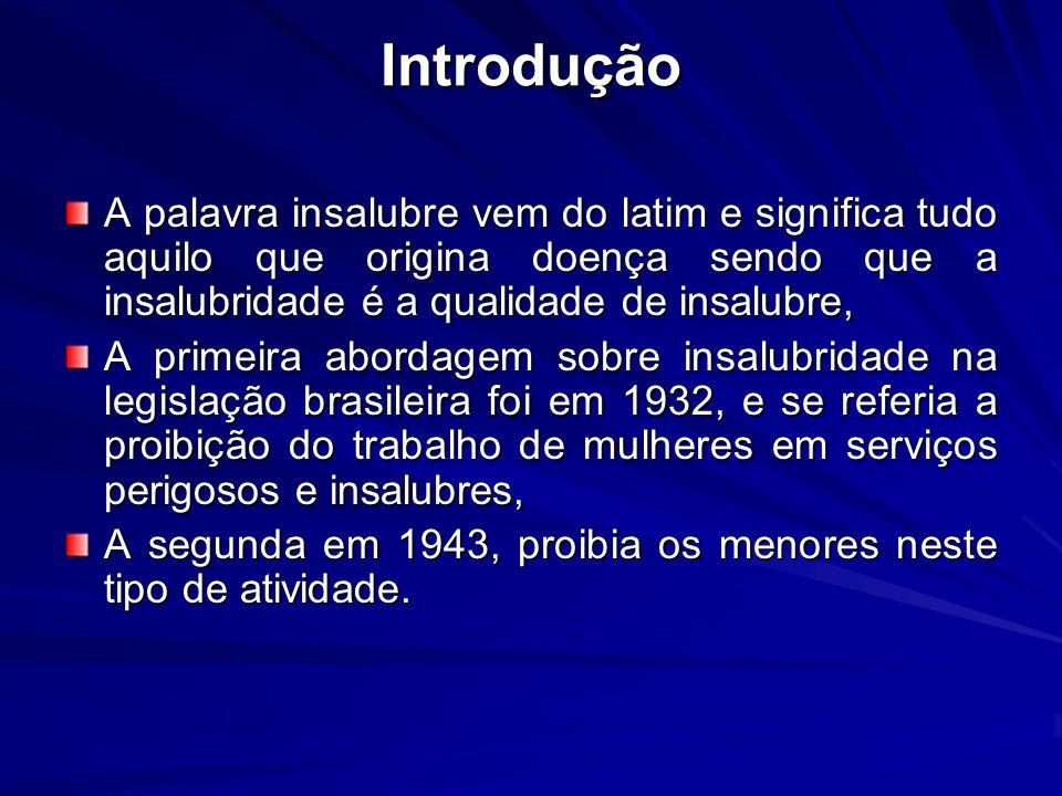 Introdução A palavra insalubre vem do latim e significa tudo aquilo que origina doença sendo que a insalubridade é a qualidade de insalubre, A primeir