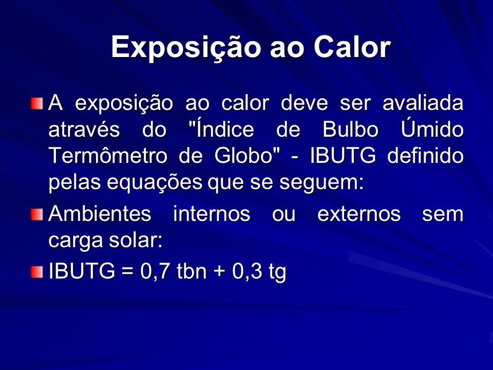 Exposição ao Calor Exposição ao Calor A exposição ao calor deve ser avaliada através do