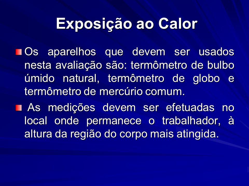Exposição ao Calor Exposição ao Calor Os aparelhos que devem ser usados nesta avaliação são: termômetro de bulbo úmido natural, termômetro de globo e