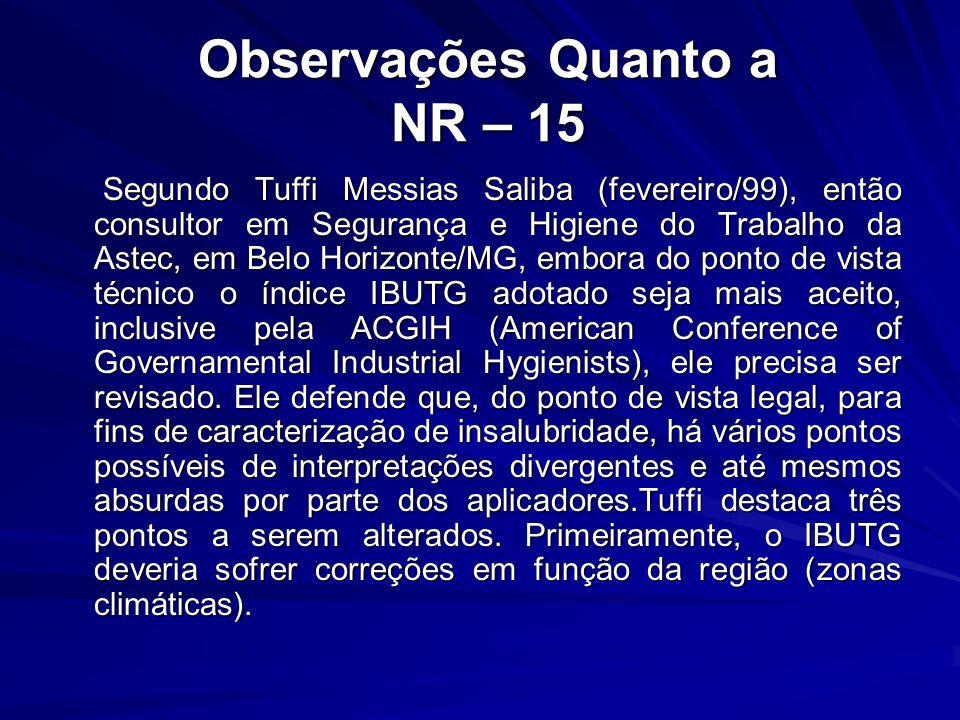 Observações Quanto a NR – 15 Observações Quanto a NR – 15 Segundo Tuffi Messias Saliba (fevereiro/99), então consultor em Segurança e Higiene do Traba