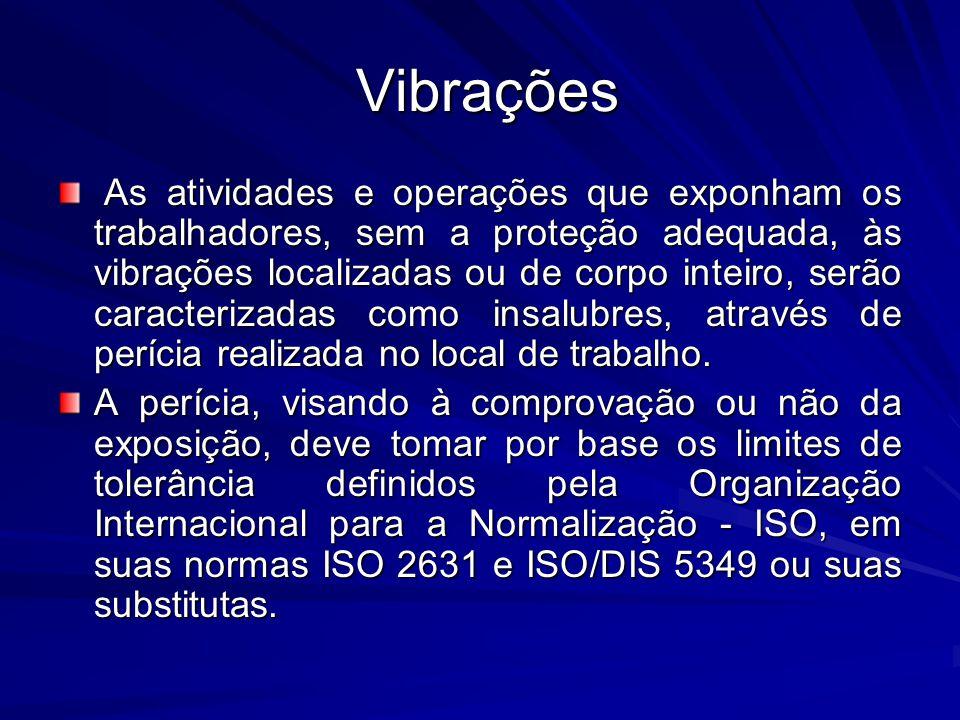 Vibrações Vibrações As atividades e operações que exponham os trabalhadores, sem a proteção adequada, às vibrações localizadas ou de corpo inteiro, se