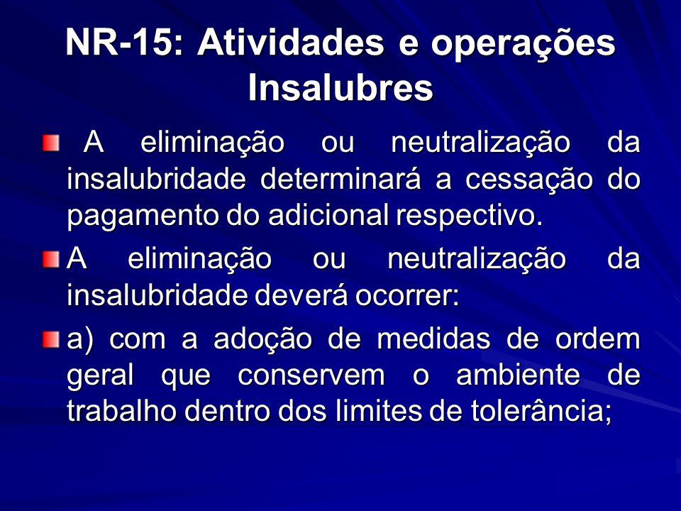 NR-15: Atividades e operações Insalubres A eliminação ou neutralização da insalubridade determinará a cessação do pagamento do adicional respectivo. A